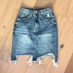 Distressed Jean Skirt H&M High Waist